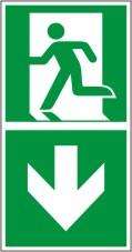 Rettungswegschild als Kombiversion zum Hinweis auf Etagenwechsel / abwärts gehen