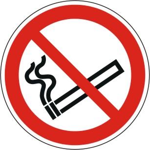 Verbotsschild P002 als Symbol Rauchen verboten nach ISO 7010