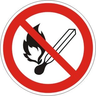 Verbotsschild als Symbol Feuer, offenes Licht u. Rauchen verboten nach ISO 7010