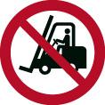 Verbotsschild als Symbol für Flurförderzeuge verboten nach ISO 7010
