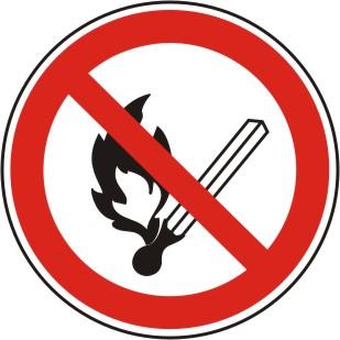 """Verbotszeichen, Symbol """"BGV A8 P 02, Feuer, offenes Licht und Rauchen verboten"""""""