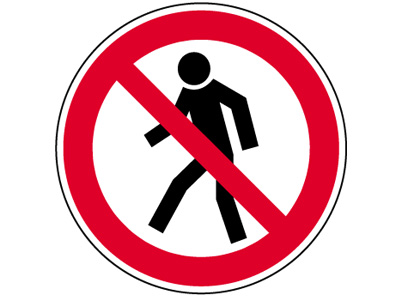 """Verbotszeichen mit Symbol BGV A8 / P03 """" Für Fußgänger verboten """""""