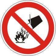 """Verbotszeichen als Symbol """"BGV A 8, P 04. Mit Wasser löschen verboten"""""""