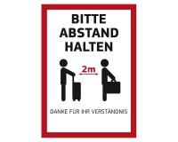 """Poster """"Bitte Abstand halten"""" für Kundenstopper DIN A1 auf Fotopapier 170g - Motiv Koffer"""
