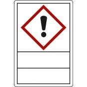 GHS 07 Ausrufezeichen zur Selbstbeschriftung, Klapplaminat