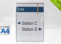 Wandschild System EST, A4-Hochformat, antireflex-Abdeckung