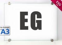 Wandschild System GLASline A3, ESG mit Klemmhaltern