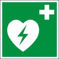 Rettungsschild als Symbol Defibrillator BGV