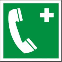 Rettungsschild als Symbol Notruftelefon nach ISO 7010