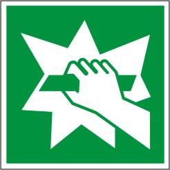 """Symbol """"Notausgangsvorrichtung -erreichbar nach Zerschlagen einer Scheibe- nach ISO 7010 / E 008"""