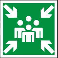 Rettungsschild als Symbol Sammelstelle nach BGV A 8