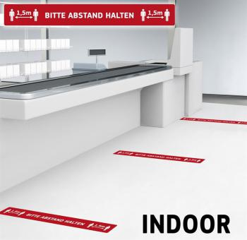 10 Stück Fußbodenaufkleber mit Hygienehinweis - Bitte Abstand Halten