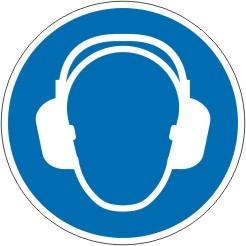 Gebotsschild als Symbol Gehörschutz benutzen nach ISO 7010 M003