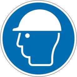 Gebotsschild als Symbol Kopfschutz benutzen nach ISO 7010 M014