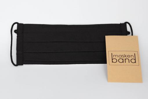 2 Handgenähte innovative Baumwollmaske aus Deutschland + 2 Maskenband gewachst Schwarz