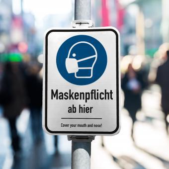 360 Grad Plakat - DIN A1 - Maskenpflicht