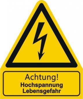 """W012 / Warnkombischild mit Symbol und Text  nach ISO 7010 """"Text: Achtung! Hochspannung Lebensgefahr"""