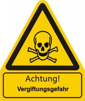 """W016 / Warnkombischild mit Symbol und Text  nach ISO 7010 """"Text: Achtung! Vergiftungsgefahr"""
