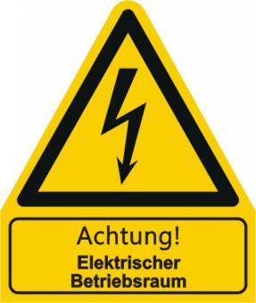 W012 / Warnkombischild mit Symbol und Text nach ISO 7010  Achtung! Elektrischer Betriebsraum