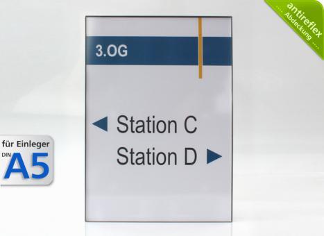 Wandschild System EST, A5-Hochformat, antireflex-Abdeckung