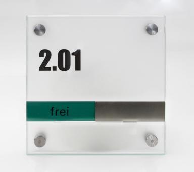 Türschild System PR-GLASline, mit frei / belegt-Anzeige