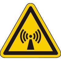 W005 / Warnschild als Symbol Warnung vor nicht ioisierender elektromagnetischer Strahlung nach ISO 7010