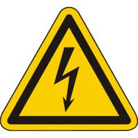 W012 / Warnschild als Symbol Warnung vor gefährlicher elektrischer Spannung nach ISO 7010