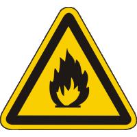 W01 / Warnschild als Symbol Warnung vor feuergefährlichen Stoffen nach BGV A8