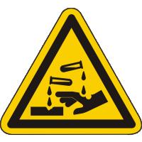 W023 / Warnschild als Symbol Warnung vor ätzenden Stoffen nach ISO 7010