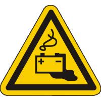 W026 / Warnschild als Symbol Warnung vor Gefahren durch Batterien nach ISO 7010