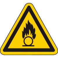W028 / Warnschild als Symbol Warnung vor brandfördernden Stoffen nach ISO 7010