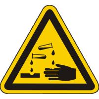 Warnschild als SymbW04 / Warnung vor ätzenden Stoffen nach BGV A8