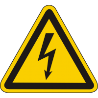 W08 / Warnschild als Symbol Warnung vor gefährlicher elektrischer Spannung nach BGV A 8