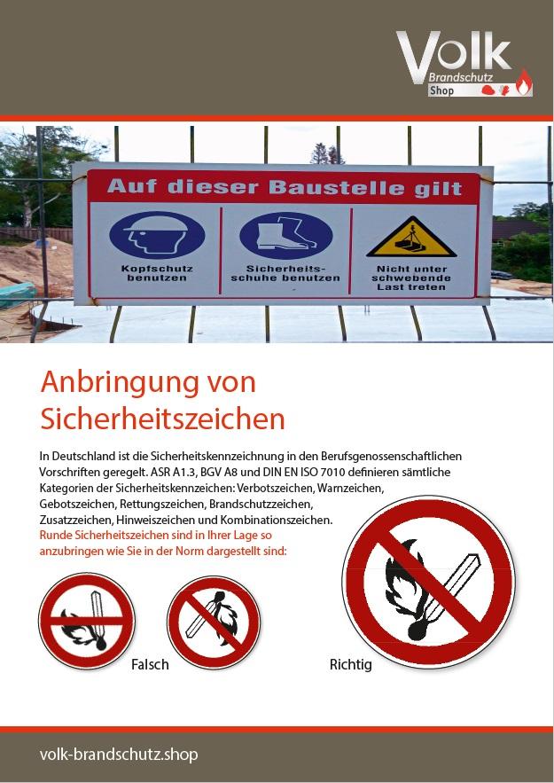 Informationsblatt Anbringung von Sicherheitszeichen