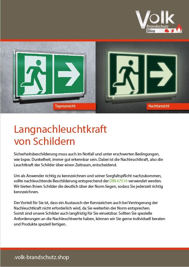Informationsblatt zu der Langnachleuchtkraft von Schildern