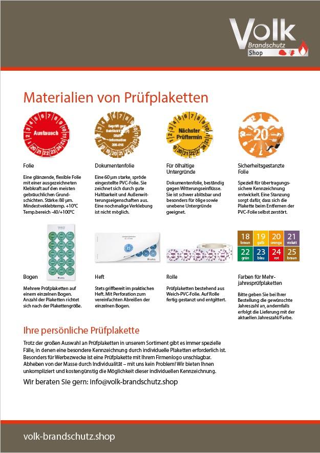 Informationsblatt Materialien von Prüfplaketten